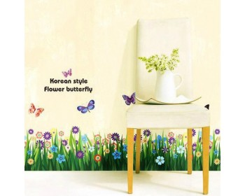 Butterfly & Grass Flowers Wall Border