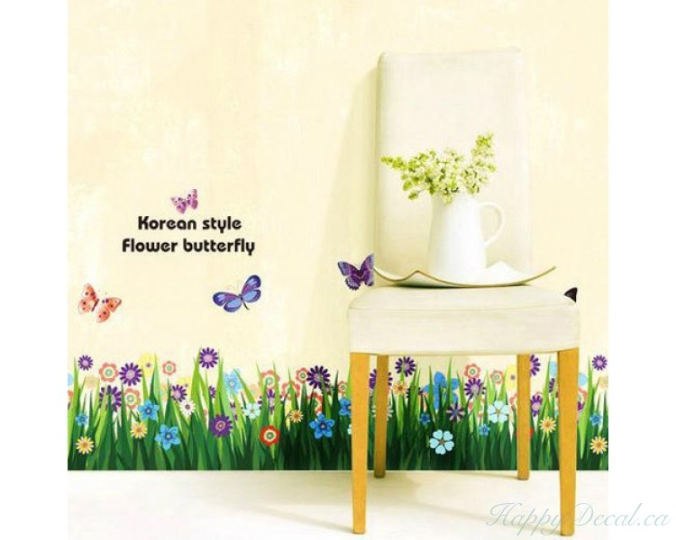 Butterfly & Grass Flowers Wall Border