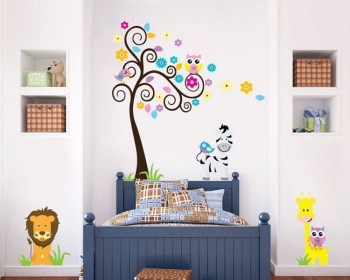 Animal Friends with Flower Tree Vinyl Wall Decals Nursery Sticker
