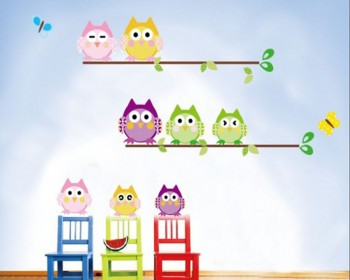 8 Cartoon Owl Friends Children Vinyl Wall Decals Nursery Sticker