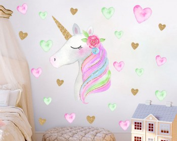Rainbow Unicorn Wall Decal with Stars/ Love Hearts