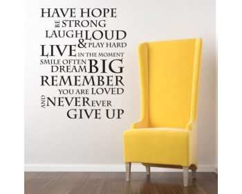 HAVE HOPE INSPIRATIONAL WALL QUOTE Saying