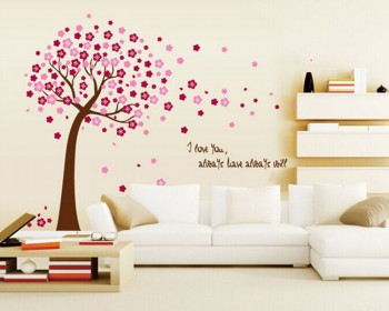 Flower Tree with Love Quotes Wall Decal Vinyl Tree Art Stickers