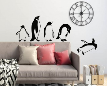 Jumping flying Penguins Decal