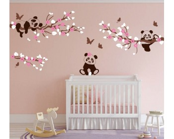 Cherry Blossom Tree wall decals with Padans and Butterflies