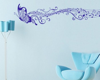 Butterfly Musical Notes Vinyl Decals Modern Wall Art Sticker