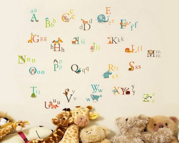 Alphabet Letters in Animals Vinyl Wall Decals Nursery Sticker