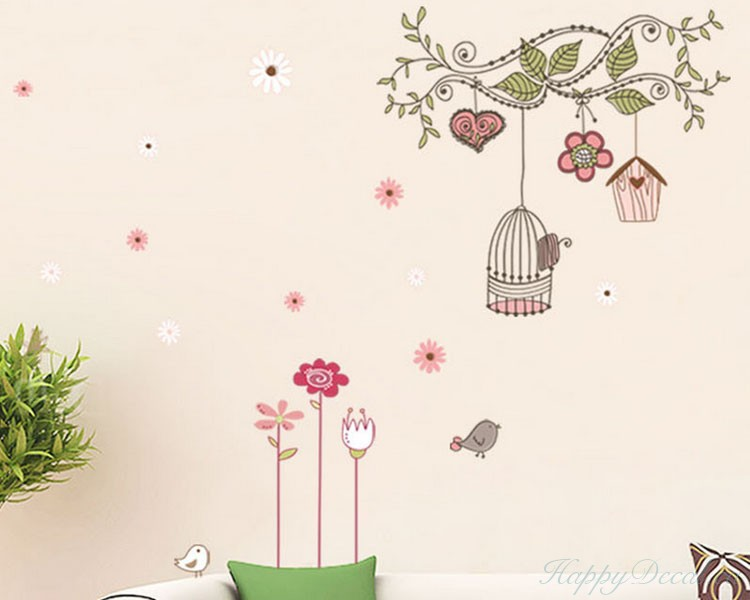 Flower Vines with Bird Cages Vinyl Decals Flower Branch Wall Art
