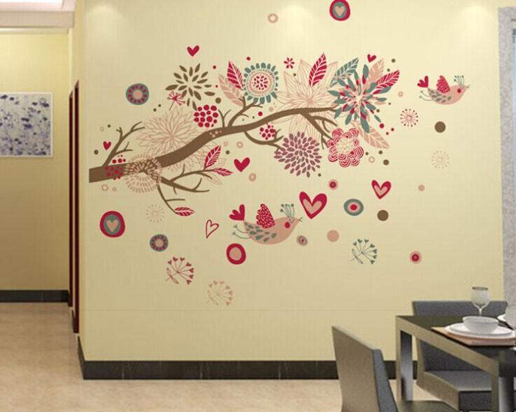 bohemia style tree and birds wall decal vinyl tree art stickers