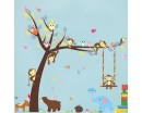 Playroom Decor Tree with Zoo Animals Swing Elephant, Monkeys, Bear