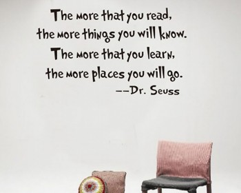 Read and Learn Dr. Seuss Quotes Wall Decal Motivational Vinyl Art Stickers