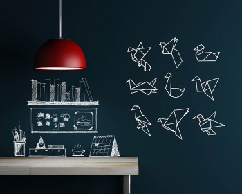 Origami Crane Wall Decal Modern Animal Wall Decals Vinyl Decors