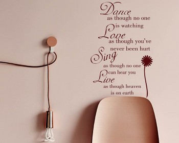 Dance Love Sing Live Quote Wall Stickers Home Lettering Quote Wall Decal
