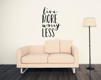 Quotes - Live More Worry Less Motivational Quote Wall Stickers Vinyl Lettering