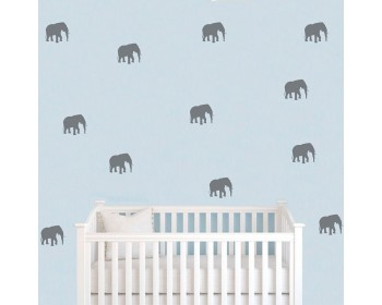 Elephant Pattern Wall Decal Baby Nursery Animal Stickers For Kids Room