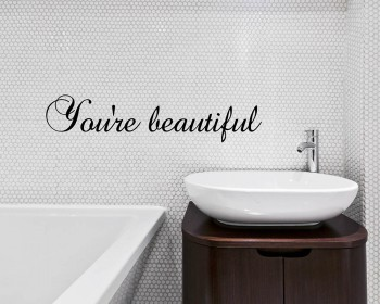 Quotes - You're Beautiful Motivational Quote Wall Stickers Vinyl Lettering