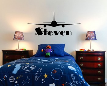 Airplane Customized Name Children Wall Decals Baby Nursery Name Wall Stickers