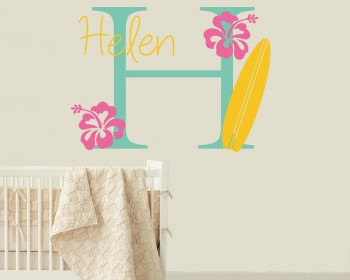 Surfboard Wall Decal with Initial & Name - Personalized Hawaiian Wall Decal