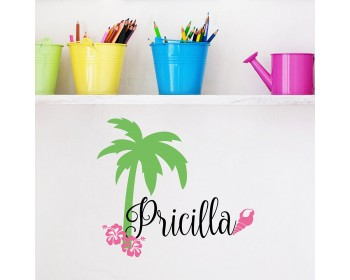 Name Beach Wall Decal - Palm Tree Wall Decal - Surfer Girl Name Decal