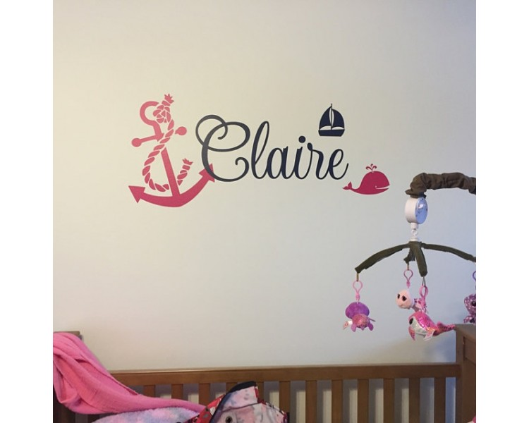 Anchor Whale with Name Wall Decal -Baby Sailor