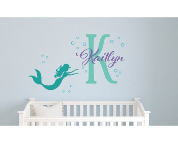 Personalized Mermaid Name Decal, Girl Name Decal, Nautical Nursery Decor