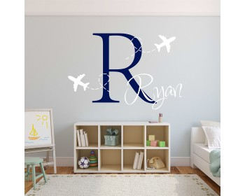 Airplane Decal - Plane Boys Monogram Decal - Personalized  Boy Name Monogram