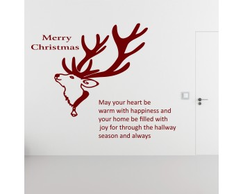 Christmas Wall Decal Quote Merry Christmas Deer Animal Mural Pvc Wall Sticker Room Wall Glass Door Decor Shop Window Decoration