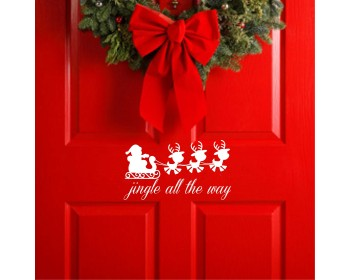 Jingle all the way Christmas removable vinyl wall decal Santa Reindeer wall decor Christmas decoration