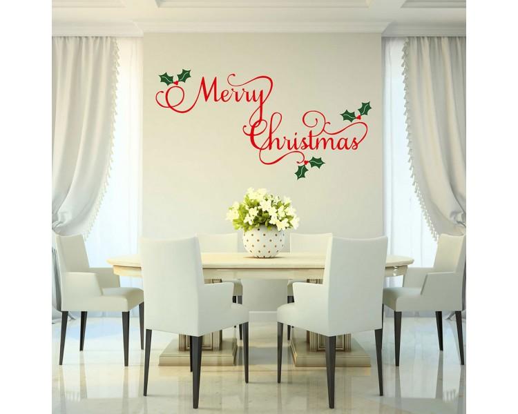 Merry Christmas Wall Decal - Holiday Decor - Christmas Vinyl Decal