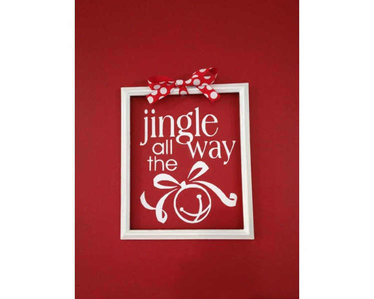"Christmas Decal ""Jingle All the Way"" DIY Christmas Vinyl Sticker Holiday Sign Holiday Decal Sticker"