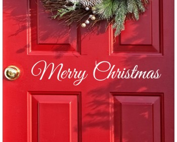 Merry Christmas Decal door Decor Wall decal Word Merry Christmas, Holiday Vinyl Lettering Entry Way Door Decal Christmas Window Stickers