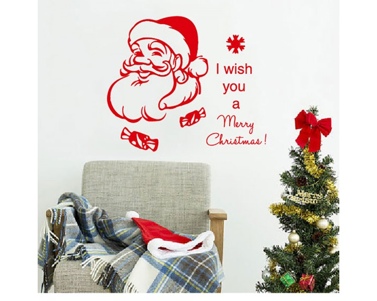 Christmas Wall Decal Quote I Wish You A Merry Christmas Decal Holiday Santa  Claus Vinyl Wall Stickers ...