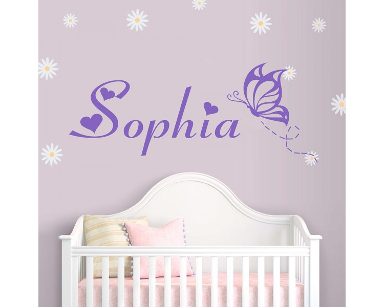 Personalized Name with Butterfly - Monogram Wall Decal