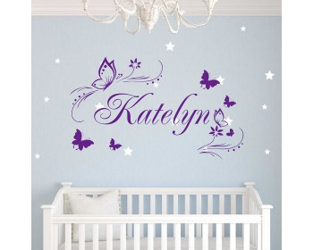 Butterflies Flower Personalized Custom Girl Name Vinyl Decal