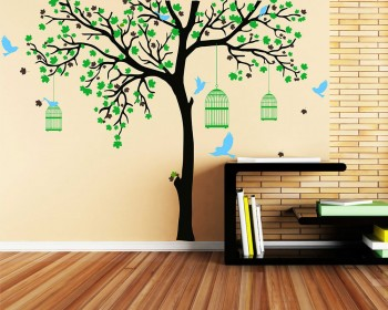 Large Tree Decal with Birds Cage