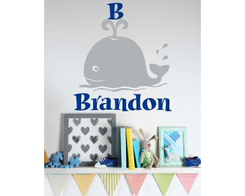 Whale - Ocean Animal Name Wall Decal