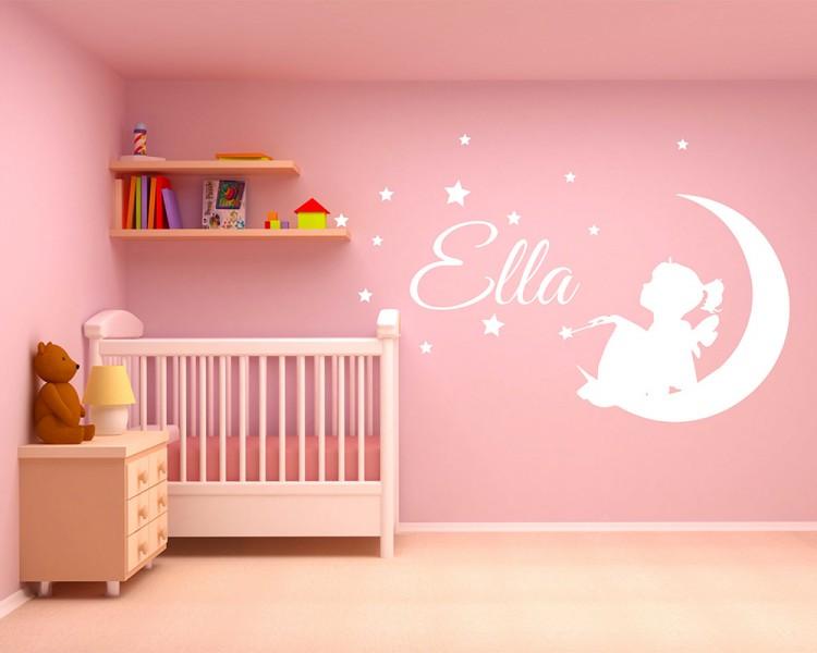 Girl Name, Fairy On Moon, Stars and Bird, Nursery Bedroom Wall ...
