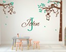 Corner Tree - Monkey wall decal with Customized Name