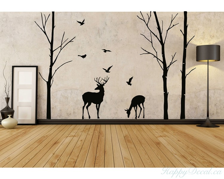 forest deer tree wall decals