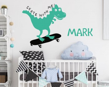 Dinosaur Skates with Personalized Name Decal