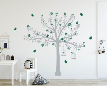 Tree with Blossom and Birds Decal