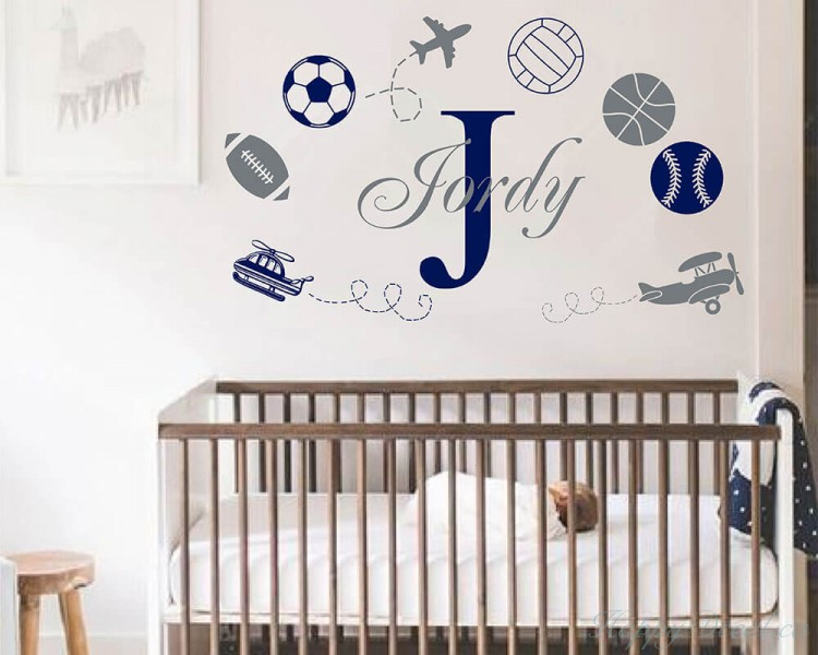 Sports with Boys Name Decal