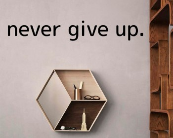 Never Give Up.. Over the Door Vinyl Wall Decal
