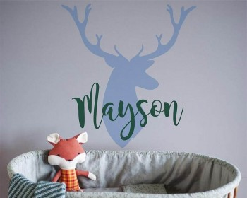 Personalized Deer Antlers Name Wall Decal