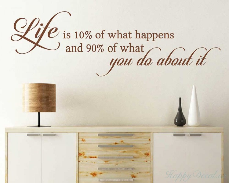 Life is 10% of what happens and 90% of what you do about it Inspirational Quote Decal