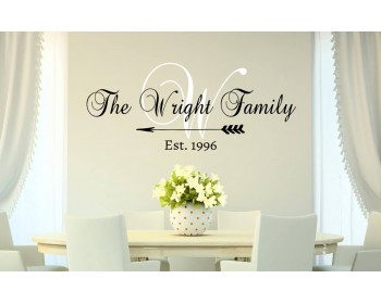 Personalized Family Name Monogram Established Date Decal