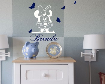 Cartoon Mouse with Personalised Name and Butterflies