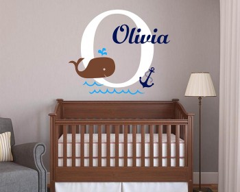 Baby Whale and Monogram, Personalized name Wall Decal