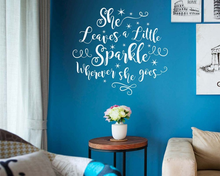 She leaves a little sparkle wherever she goes wall decal