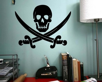 Jolly Roger Pirate Ship Skull Cross Bones Swords Symbol